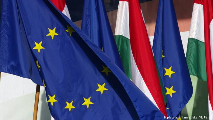 Flags of Hungary and the European Union
