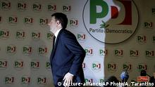Democratic Party leader Matteo Renzi leaves at the end of a press conference on the election results, in Rome, Monday, March 5, 2018. With the anti-establishment 5-Stars the highest vote-getter of any single party, the results confirmed the defeat of the two main political forces that have dominated Italian politics for decades — Forza Italia and the center-left Democrats — and the surging of populist and right-wing, euroskeptic forces that have burst onto the European scene. (AP Photo/Alessandra Tarantino) |