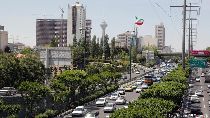 A general view shows a traffic jam in downtown Tehran