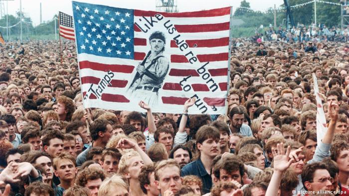 Crowd at Bruce Springsteen concert in East Berlin in 1988