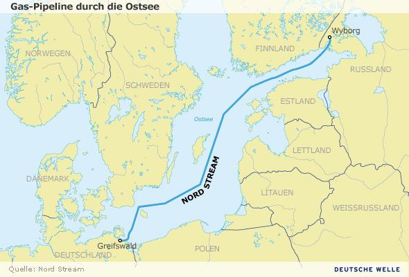 Gaspipeline Nord Stream durch die Ostsee Karte Infografik Deutsch