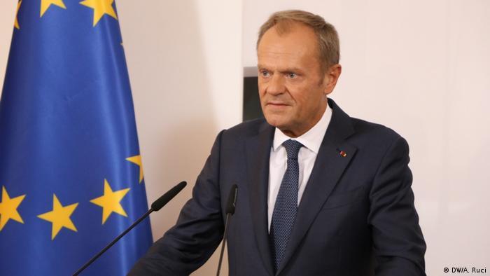 Albanien Tirana   Donald Tusk, Pressekonferenz mit Edi Rama