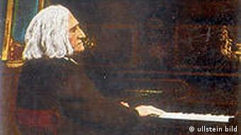 Der Komponist Franz Liszt sitzt am Klavier (undatierte (um 1860) kolorierte Miniatur)