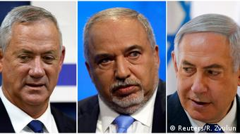Bildkombo: Benny Gantz, Avigdor Lieberman und Benjamin Netanyahu