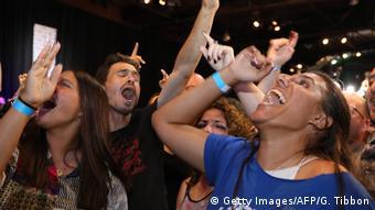 Wahlen in Israel- Anhänger der Blau Weißen Partei