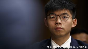 Hongkong-Aktivisten Joshua Wong und Denise Ho vor dem US-amerikanischen Kongress (picture-alliance/dpa/J. Martin)