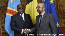 17.09.2019, Belgien, Brüssel: DRC Congo President Felix Tshisekedi and Belgian Prime Minister Charles Michel pictured during the official picture and the round table at the residence of Belgian Prime Minister, the Egmont Palace, part of the offical visit of DRC Congo President for several days in Belgium, Tuesday 17 September 2019, in Brussels. BELGA PHOTO POOL DIDIER LEBRUN Foto: Pool Didier Lebrun/BELGA/dpa |