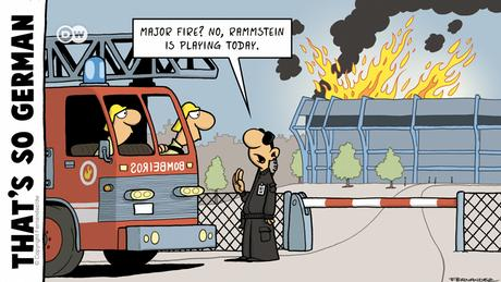 Comics by Fernandez with firefighters and security guard discussing a fire in a stadium
