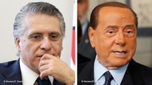 Rechts. Forza Italia leader Silvio Berlusconi speaks to the media after consultations with Italian President Sergio Mattarella in Rome, Italy, August 22, 2019. REUTERS/Remo Casilli Links: FILE PHOTO: Nabil Karoui, businessman and owner of the private channel Nessma TV, submits his candidacy for the presidential election in Tunis, Tunisia, August 2, 2019. REUTERS/Zoubeir Souissi/File Photo