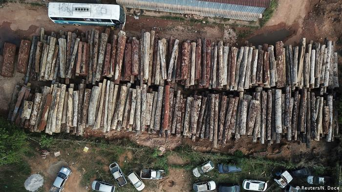 Drone footage of piles of logs illegally cut from the Amazon