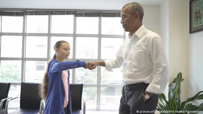 Former President Obama meets climate activist Greta Thunberg