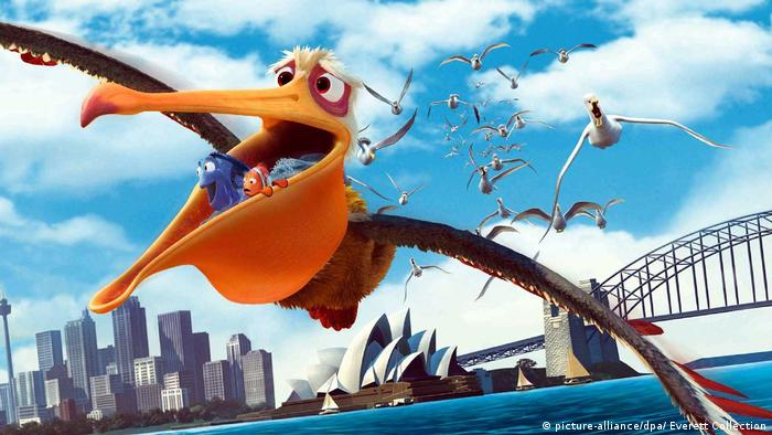 A still from the film Finding Nemo, with the main characters inside a pelican's pouch