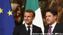 Giuseppe Conte and Emmanuel Macron talk migration in Rome (picture-alliance/dpa/R. De Luca)