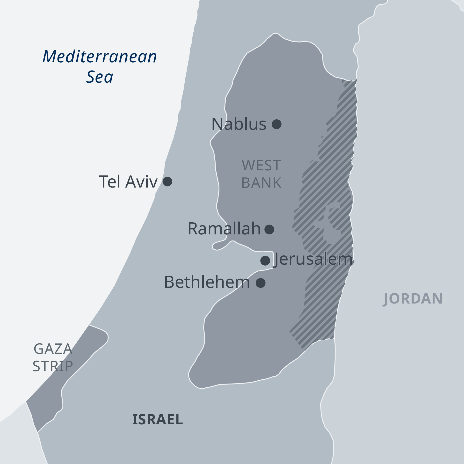 Map of Israel and Palestinian territories