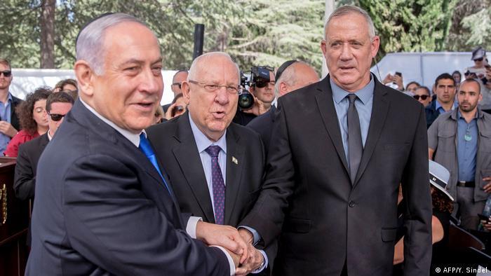 Israel Netanjahu Rivlin und Gantz (AFP/Y. Sindel)