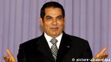ARCHIV - Der gestürzte tunesische Staatspräsident Ben Ali gestikuliert am 30.07.11.2008 bei einem Parteikongress in Tunis. Foto: EPA (zu dpa Tunesiens Archive: Ben Ali bestach Journalisten auch im Ausland vom 22.12.2013) +++(c) dpa - Bildfunk+++ |