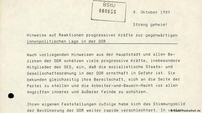 Folha datilografada em alemão