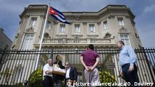 30.07.2015 The Cuban flag flies in front of the country's embassy after 54 years July 30, 2015 in Washington, DC. The embassy was closed in 1961 when U.S. President Dwight Eisenhower severed diplomatic ties with the island nation after Fidel Castro took power in a Communist revolution.Photo by Olivier Douliery/ABACA |