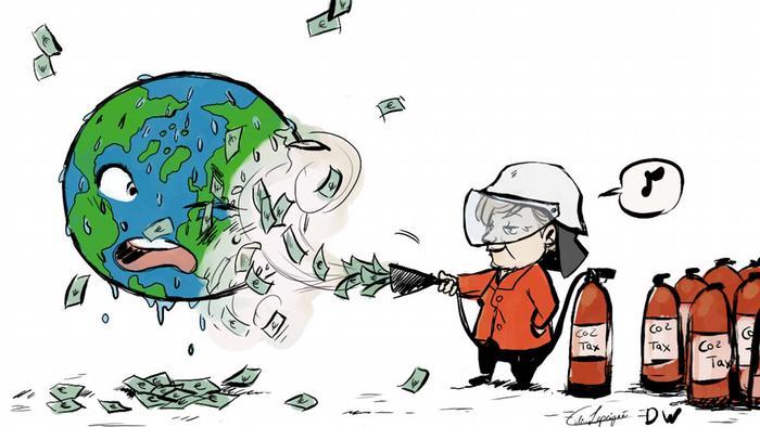 Karikatur Klimakabinett englisch