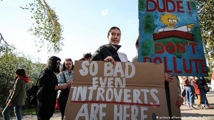 Демонстрация в защиту климата в польском городе Гдыня