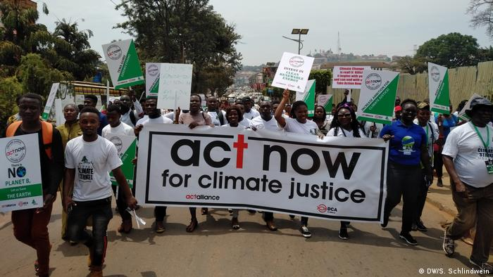 A protest march for climate justice in Kampala, Uganda
