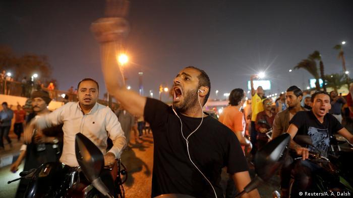 Manifestantes contra el Gobierno de Abdel Fattah al Sisi, en El Cairo (21.09.2019).