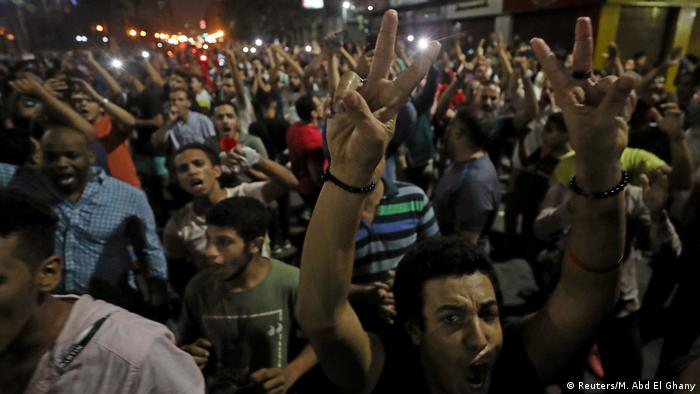Anti-government protesters chanting in Cairo