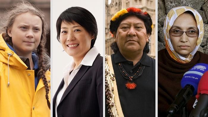 Greta Thunberg, Guo Huanmei, Davi Kopenawa e Aminatou Haidar, em fotomontagem