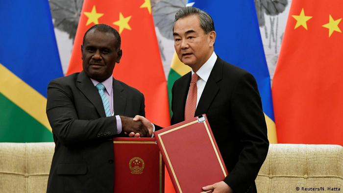 Chinese Foreign Minister Wang Yi and Solomon Islands' Foreign Minister Jeremiah Manele in Beijing