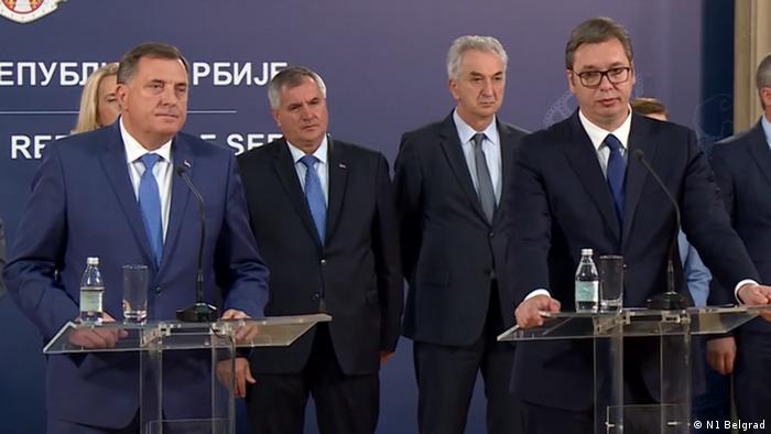 Zabrinuta lica i različite izjave Dodika i Vučića