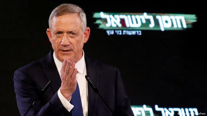 Benny Gantz, a former Israeli armed forces chief and head of Israel Resilience party, delivers his first political speech at the party campaign launch in Tel Aviv