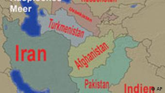 Map showing South Asian and Central Asian countries
