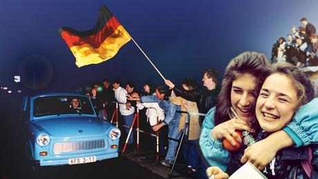 Alegria com a queda do Muro de Berlim