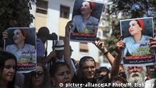 Marokko Rabat Solidaritätsdemonstration für inhaftierten Journalistin Hajar Raissouni