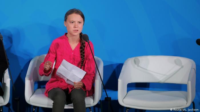 Грета Тунберг в Нью-Йорке на саммите ООН по климату, 23 сентября