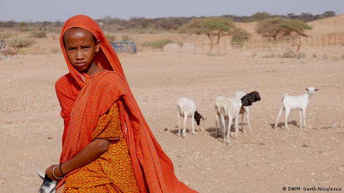 A young girl in the village of Lasdenkeyre in Ethiopia's Somali region with her goats (DW/M. Gerth-Niculescu)