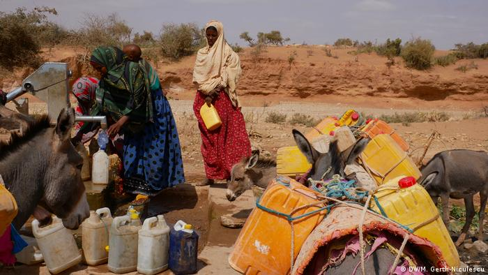 A group of woman fetch water out of a well in Ethiopia's drought-stricken Somali region