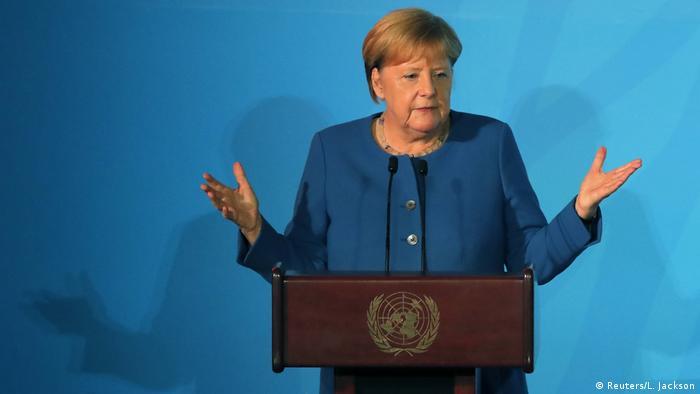 Angela Merkel berpidato di kantor pusat PBB di New York tahun 2019