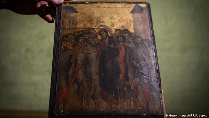 The painting by Cimabue titled Christ Mocked