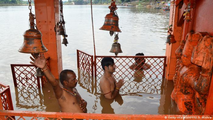 A flooded temple in India