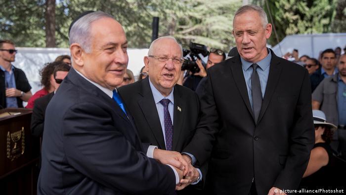 El primer ministro israelí Benjamin Netanyahu (izquierda), el presidente israelí Reuven Rivlin y el líder de la coalición Azul Blanco, Benny Gantz (19.09.2019)