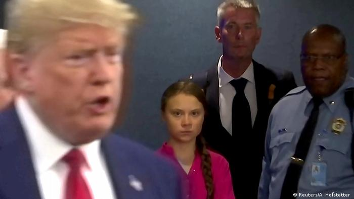 USA UN Greta Thunberg und Donald Trump