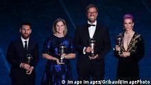 Db Milano 23/09/2019 - The Best FIFA Football Awards / foto Daniele Buffa/Image nella foto: Lionel Messi-Jillien Ellis-Jurgen Klopp-Megan Rapinoe PUBLICATIONxNOTxINxITA