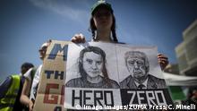 Italien Greta Thunberg und Donald Trump auf Plakat bei einer Demo in Rom