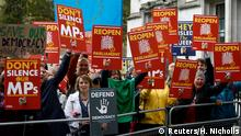 Großbritannien Protest vor Oberstem Gericht - Urteil Zwangspause für britisches Parlament