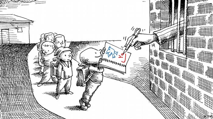 A caricature showing children lining up before a prison with a teacher's hand reaching out from behind the bars to give a mark
