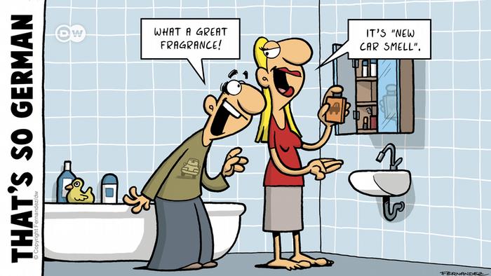 Fernandez cartoon showing a man and woman in a bathroom