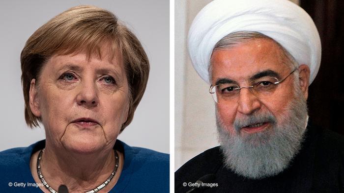 La canciller alemana, Merkel, y el presidente iraní, Hassan Rohaní.