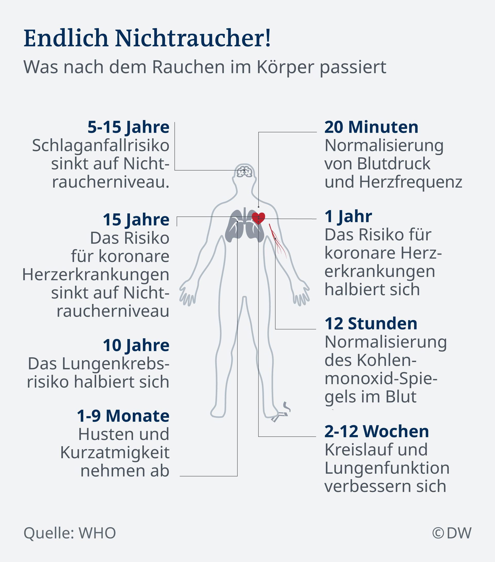 Infografik: Endlich Nichtraucher - was nach dem Rauchen im Körper passiert