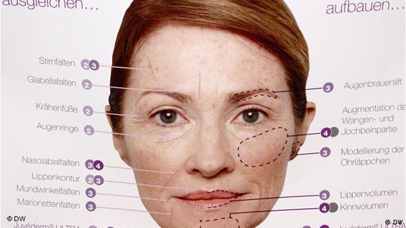 Lice s označenim zonama